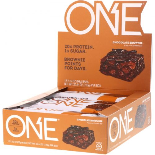 Oh Yeah!, One Bar, Chocolate Brownie Flavor, 12 Bars, 2.12 oz (60 g) Each
