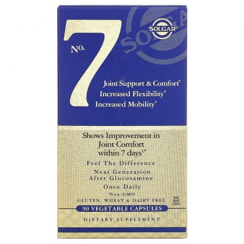 Solgar, No 7, для комфорта и поддержки суставов, 90 капсул на растительной основе