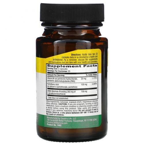 Country Life, Country Life, не содержит глютена, диметиламиноэтанол (ДМАЭ), коферментированный, 350 мг, 50 вегетарианских капсул