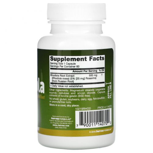 Jarrow Formulas, Родиола розовая, 500 мг, 60 капсул