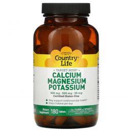 Country Life, Кальций, магний и калий, 500 мг : 500 мг : 99 мг, 180 таблеток