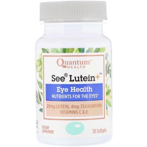 Quantum Health, See Lutein+, здоровье глаз, 30 мягких таблеток