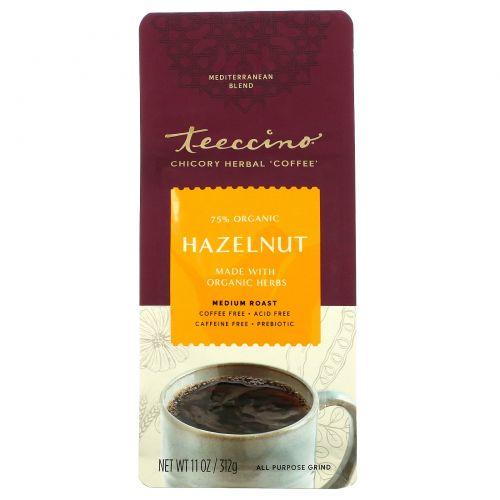 Teeccino, Средиземноморский травяной кофе, с фундуком, средней прожарки, без кофеина, 11 унций (312 г)