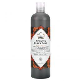 Nubian Heritage, Африканских черное мыло, средство для мытья тела, детоксификация и балансировка, 13 жидких унций (384 мл)