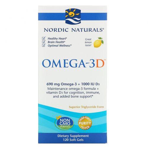 Nordic Naturals, Омега-3D, со вкусом лимона, 1000 мг, 120 желатиновых капсул
