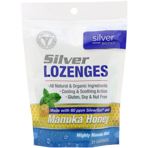 American Biotech Labs, Silver Biotics, серебряные пастилки, 60 частей на млн SilverSol, мощная манука и мята, 21 пастилок