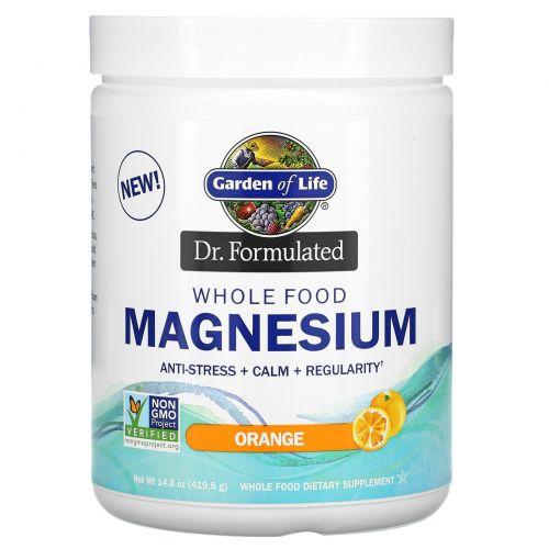 Garden of Life, Dr. Formulated, порошок магния из цельных продуктов, апельсин, 419,5 г