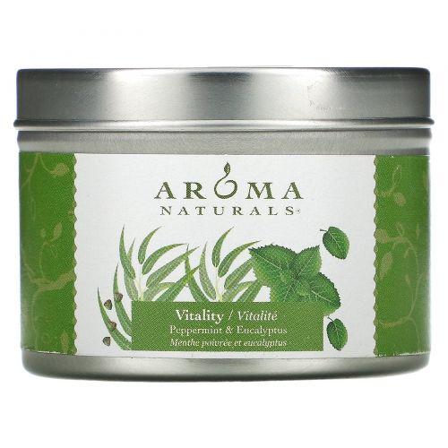 Aroma Naturals, Soy VegePure, свеча для поездок, перечная мята и эвкалипт, 2,8 унции (79,38 г)