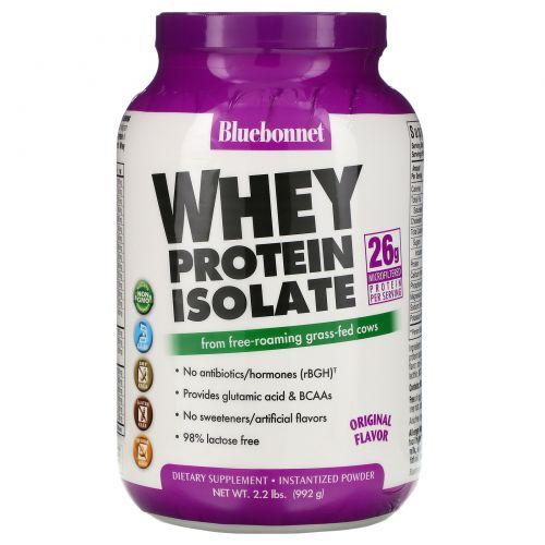 Bluebonnet Nutrition, 100% натуральный изолят сывороточного белка с натуральным оригинальным вкусом, 2.2 фунтов (992 г)