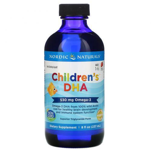 Nordic Naturals, ДГК для детей, клубника, 530 мг, 8 ж. унц.(237 мл)