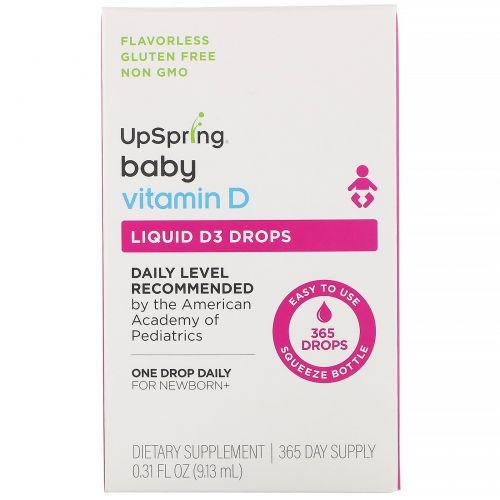UpSpring, Для детей, витаминD3 в форме капель, витаминD, 9,13мл (0,31жидк.унции)