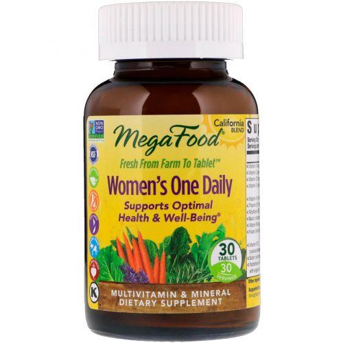 MegaFood, Цельнопищевые мультивитамины и минералы для женщин, 30 таблеток