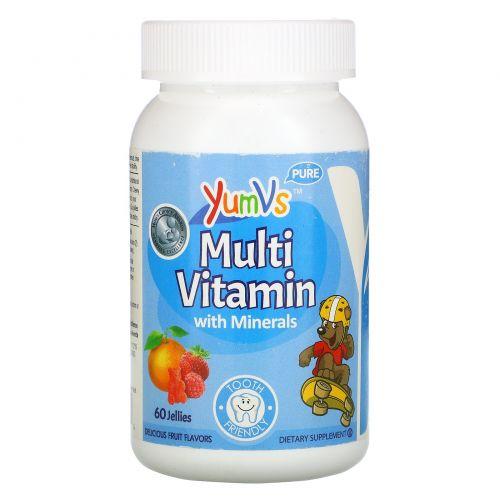 Yum-V's, Мультивитамины и минералы, вкусный фруктовый вкус, 60 мармеладные медвежата