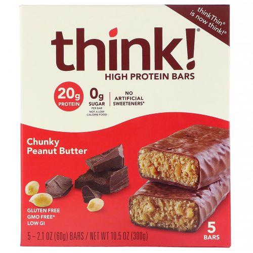 ThinkThin, Высокопротеиновые батончики, кусочки арахисовой пасты, 5батончиков, 60г (2,1 унции) каждый