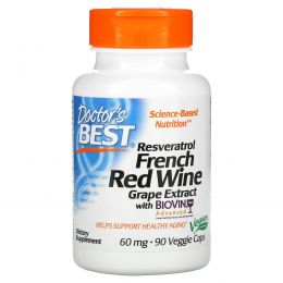 Doctor's Best, Экстракт французского красного вина (Best French Red Wine Extract), 60 мг, 90 растительных капсул