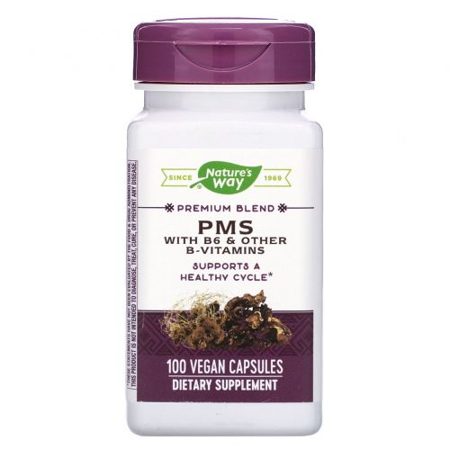 Nature's Way, PMS, With B6 and Other B-Vitamins, 100 Vegetarian Capsules