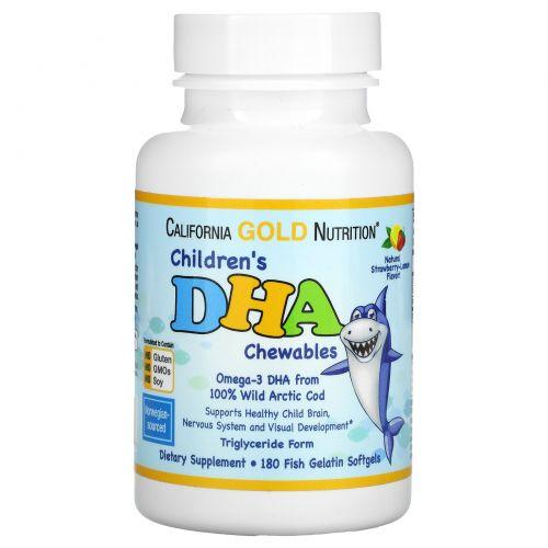 California Gold Nutrition, Children's DHA Chewables, Strawberry-Lemon Flavor, 180 Fish Gelatin Softgels