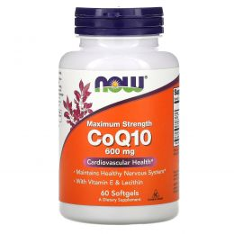 Now Foods, CoQ10, 600 мг, 60 гелевых капсул