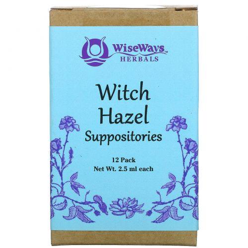 WiseWays Herbals, LLC, Свечи с гамамелисом, 12 шт, 2,5 мл каждая