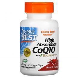 Doctor's Best, Ко-энзим High Absorption CoQ10 высокой абсорбции с биоперином, 200 мг, 60 вегетарианских капсул