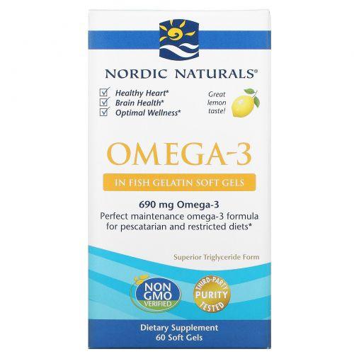 Nordic Naturals, Omega-3, лимон, 1000 мг, 60 мягких капсул