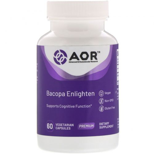 Advanced Orthomolecular Research AOR, Bacopa Enlighten, 60 Vegan Capsules