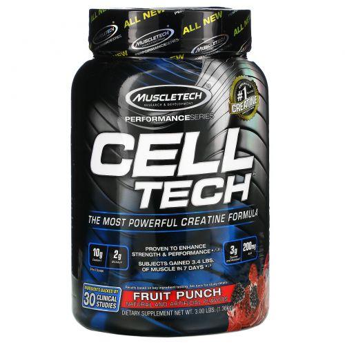 Muscletech, Мощнейшая креатиновая формула Cell Tech, вкус фруктового пукша, 1,4 кг (3,09 фунта)