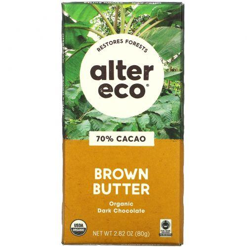 Alter Eco, Органический шоколад, темный, с соленым коричневым маслом, 2,82 унции (80 г)