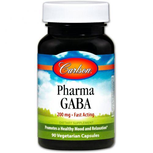 Carlson Labs, Pharma GABA, 200 мг, 90 капсул растительного происхождения