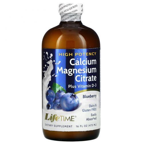Life Time, Цитрат кальция и магния со вкусом голубики, 16 жидких унций (473 мл)