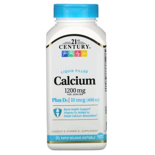21st Century, Жидкий кальций, 1200 мг + витамин D3, 90 гелевых капсул