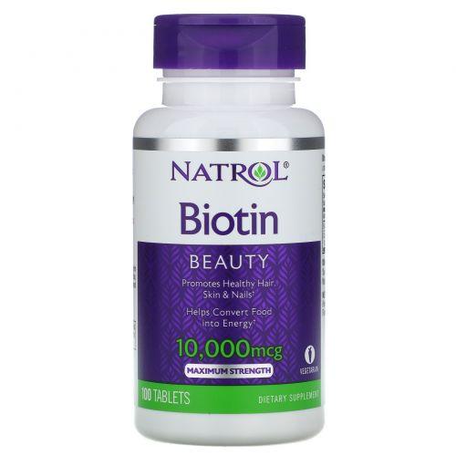 Natrol, Биотин, Максимальный эффект, 10,000 мкг, 100 таблеток