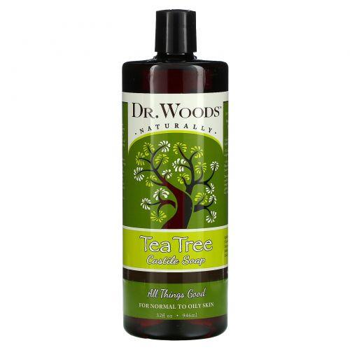 Dr. Woods, Кастильское мыло из чистого чайного дерева, для нормальной, сухой и жирной кожи, 32 жидких унции (946 мл)