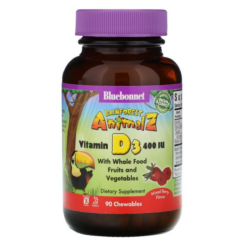 Bluebonnet Nutrition, Super Earth, Rainforest Animalz, Vitamin D3, Natural Mixed Berry, 400 IU, 90 Chewable Tablets