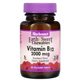 Bluebonnet Nutrition, Жевательные таблетки «EarthSweet», витамин B12, натуральный вкус малины, 2000 мкг, 90 шт.