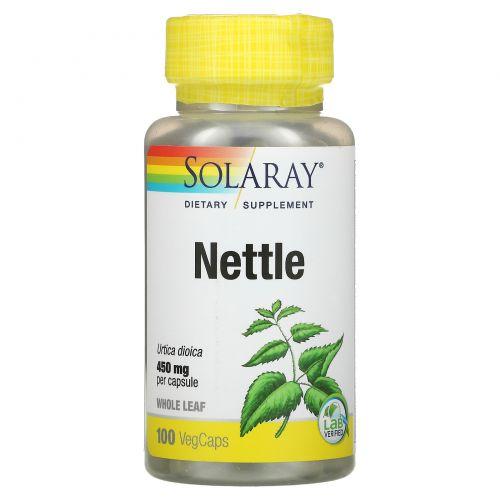 Solaray, Органически выращенная крапива, 450 мг, 100 капсул с оболочкой из ингредиентов растительного происхождения