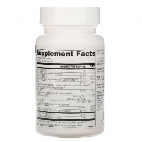 Source Naturals, Коферментный комплекс витаминов B, аромат перечной мяты, подъязычный, 60 таблеток