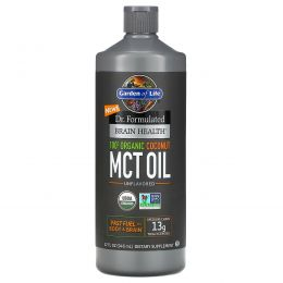 Garden of Life, Dr. Formulated Brain Health, 100% Organic Coconut MCT Oil, Unflavored, 32 fl oz(946ml)