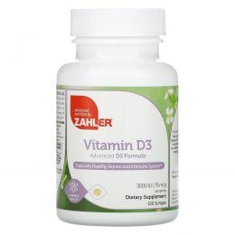 Zahler, Витамин D3, Продвинутая формула с витамином D3, 3000 МЕ, 120 мягких капсул