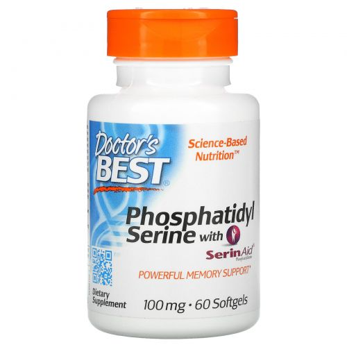Doctor's Best, Phosphatidylserine with SerinAid, 100 mg, 60 Softgels