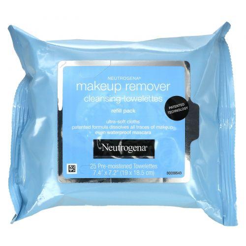Neutrogena, Очищающие салфетки для снятия макияжа, 25 влажных салфеток