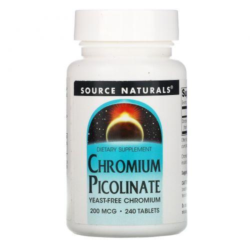 Source Naturals, Пиколинат хрома, 200 мкг, 240 таблеток