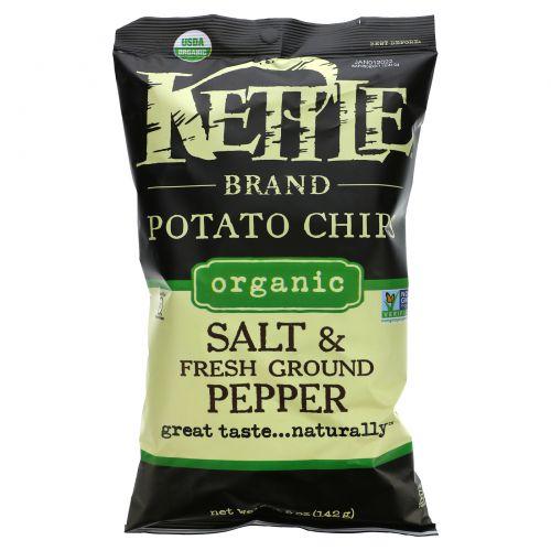 Kettle Foods, Органические картофельные чипсы, соль и свежемолотый перец, 5 унций (142 г)