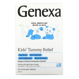 Genexa, Kid's Tummy Relief, Ages 2+, Organic Berry & Vanilla , 30 Chewable Tablets