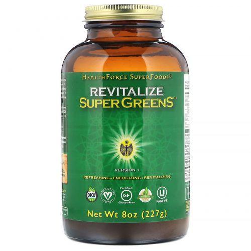 HealthForce Superfoods, Цельнопищевая добавка Revitalize Super Greens, 227г