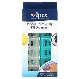 Apex, Недельный органайзер для двухразового приема таблеток, 1 органайзер для таблеток