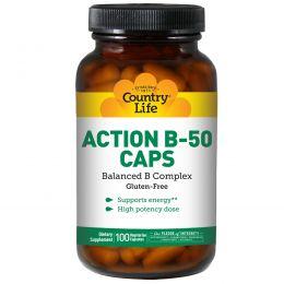 Country Life, Action B-50 в капсулах, 100 вегетарианских капсул