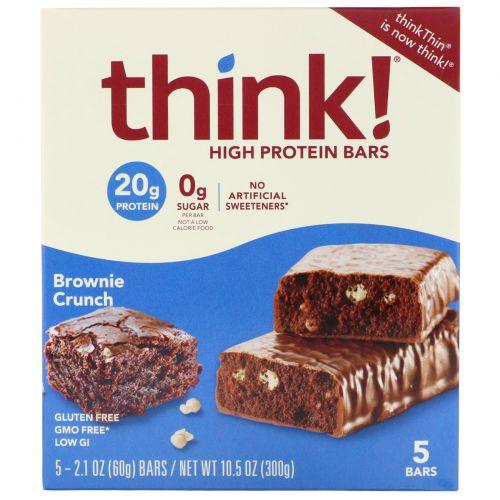 ThinkThin, Высокопротеиновые батончики, «Хрустящий брауни», 5батончиков, 60г (2,1 унции) каждый