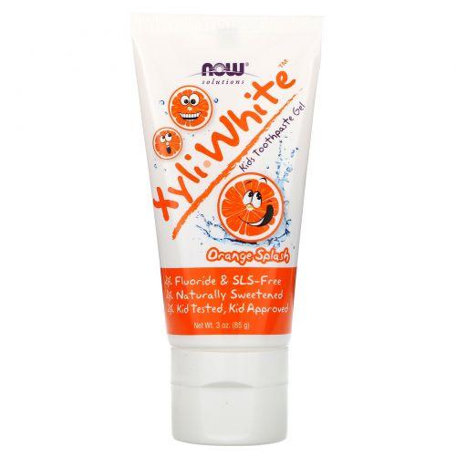 """Now Foods, Xyli White, Зубная паста-гель для детей, """"Апельсиновый всплеск"""", 3 унции (85 г)"""