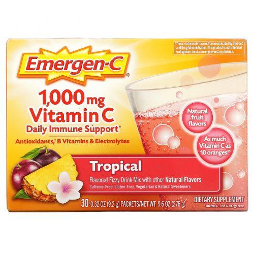 Emergen-C, 1000 мг витамина С, тропический, 30 пакетиков по 9,0 г